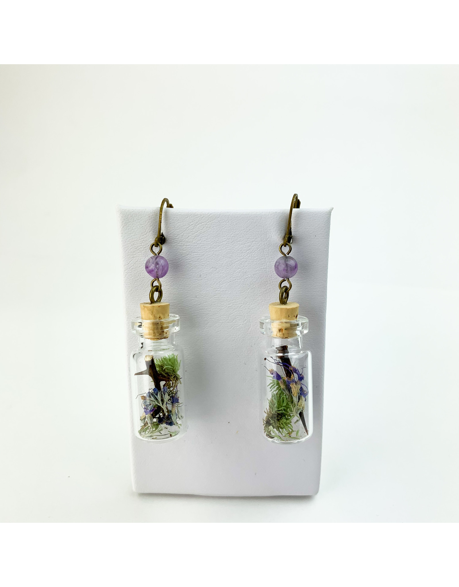 Fovea Works Consignment Artist FW15 Thorn Moss Sage Jars Iodized Brass Earrings