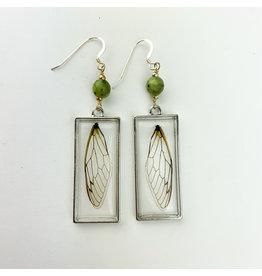 Fovea Works Consignment Artist FW16 Cicada Specimens w jade sterling earrings