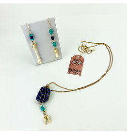 Fovea Works Consignment Artist FW23 Lapis Lazuli Cow Tooth Earring Necklace Set