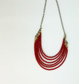 Harlow 6 layer Ruby necklace