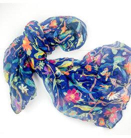 Joy Accessories bird garden scarf-navy