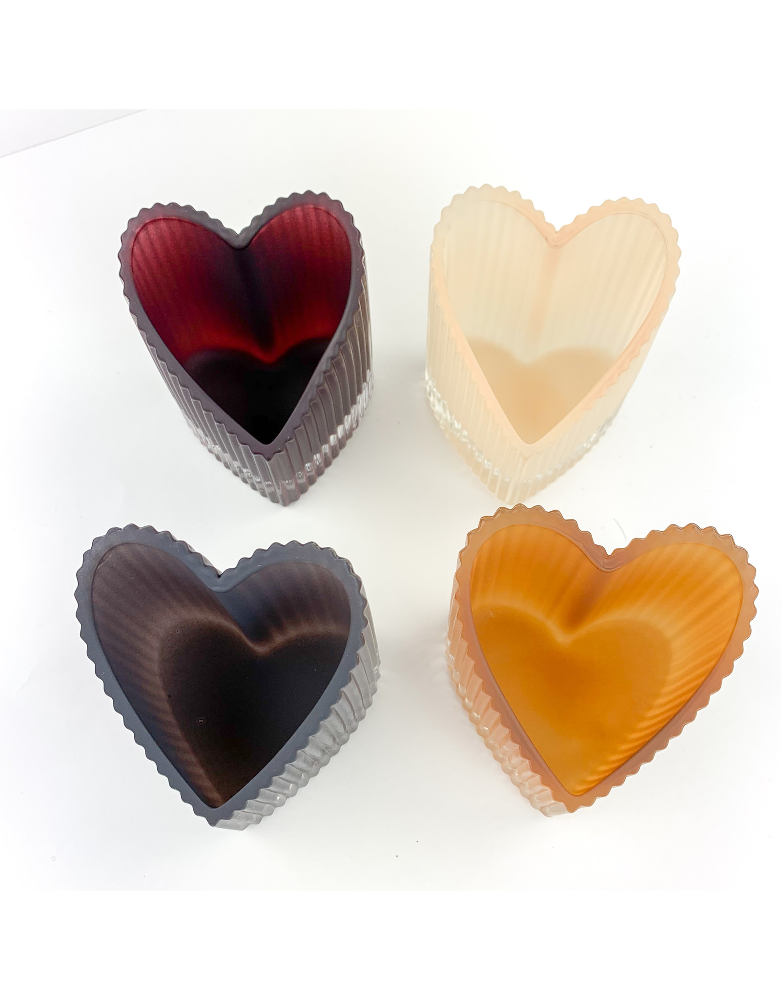 Creative Co-Op Glass Heart Tealight Holder/4 colors