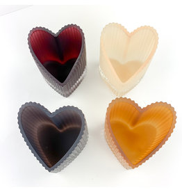 Creative Co-Op Glass Heart Tealight Holder/4 colors