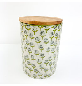 Creative Co-Op Hand Stamped Canister Floral