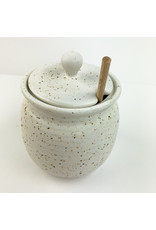 Creative Co-Op Stoneware Honey Pot Speckled