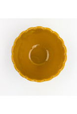 Creative Co-Op Round Scalloped Bowl Mustard Color