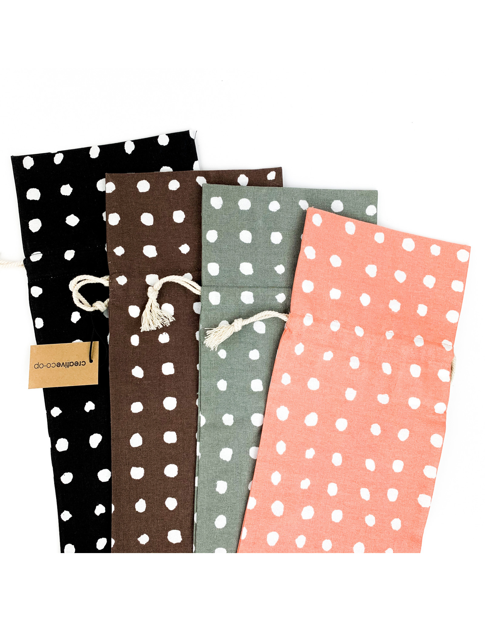 Creative Co-Op Woven Cotton Polka Dot Bag