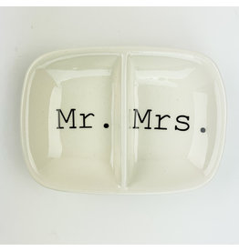 Creative Co-Op Ceramic 2 Section Dish Mr Mrs