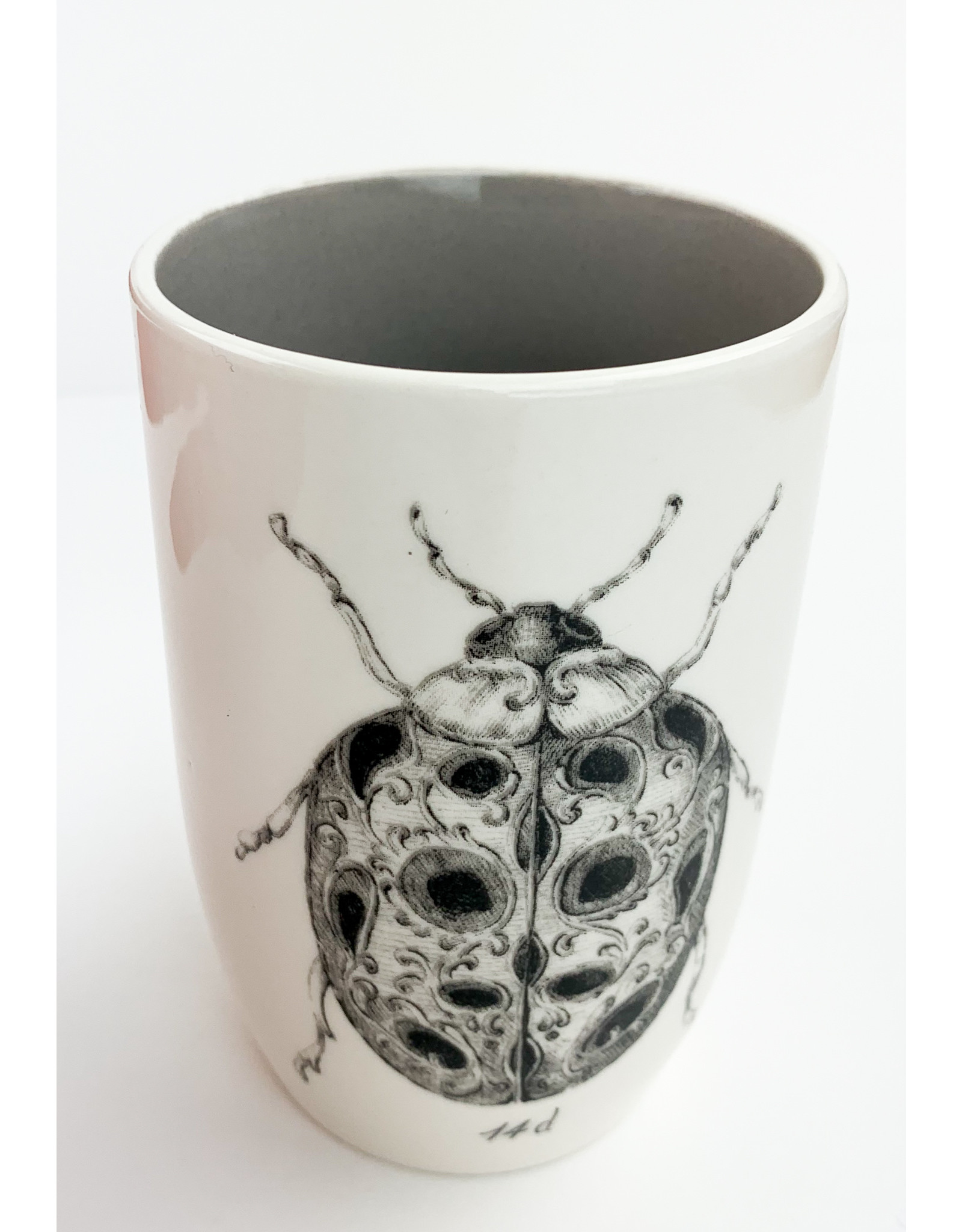 Creative Co-Op Round Stoneware Cup with Ladybug