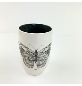 Creative Co-Op Round stoneware Cup with Butterfly