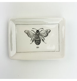 Creative Co-Op Ceramic Dish with Bumblebee