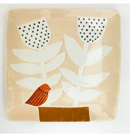 Creative Co-Op Stoneware Plate Bird