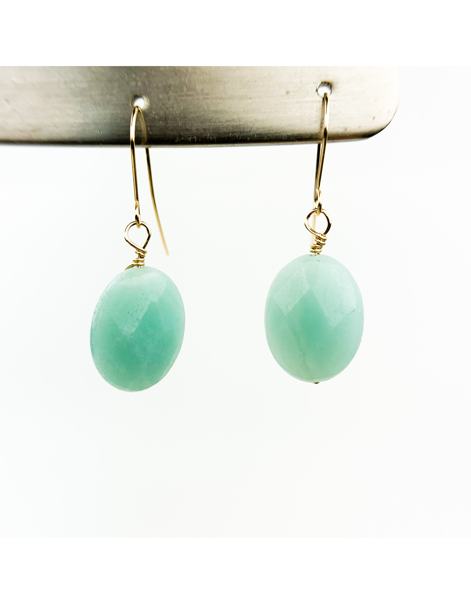Nicole Collodoro Amazonite Faceted Oval Earrings Gold