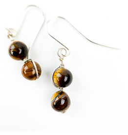 Nicole Collodoro Tiger Eye 2 bead earring