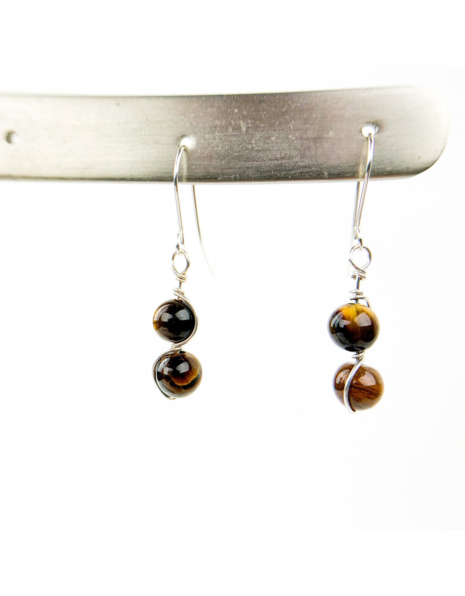 Nicole Collodoro Tiger Eye 2 bead earring