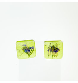 Fovea Works Consignment Artist FW50 Glassy Sage Resin Earrings