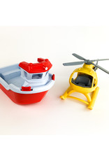 green toy Rescue Boat w/helicopter