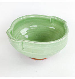 Tiny Town Pottery-consignment 924 Green Bowl Tab Handle Consignment