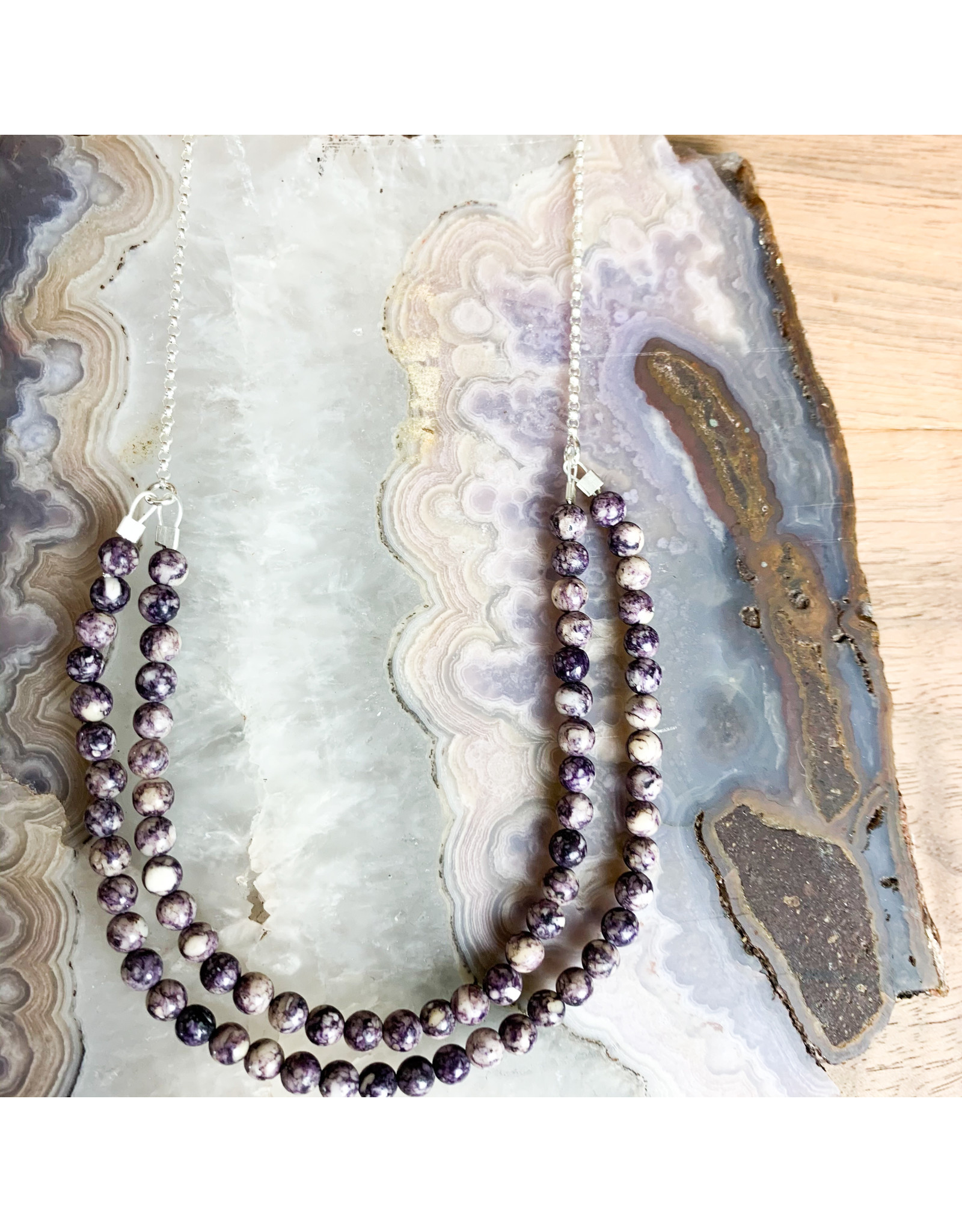 "Purple Howlite on 21"" Sterling Chain - NC60"