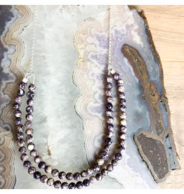 "Purple Howlite on 21"" Sterling Chain"
