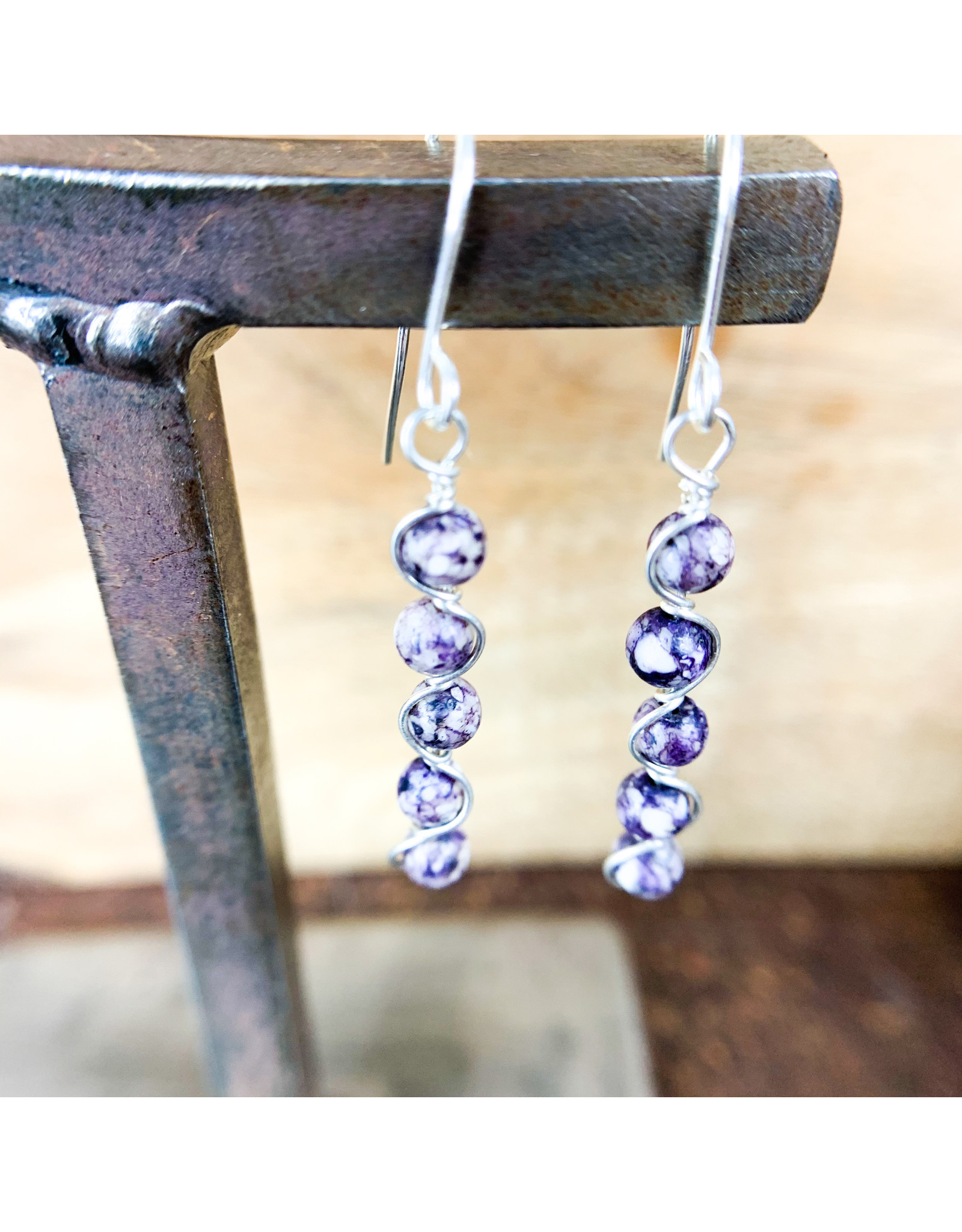 Purple Howlite Earrings Sterling Silver NC59