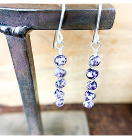 Purple Howlite Earrings Sterling Silver