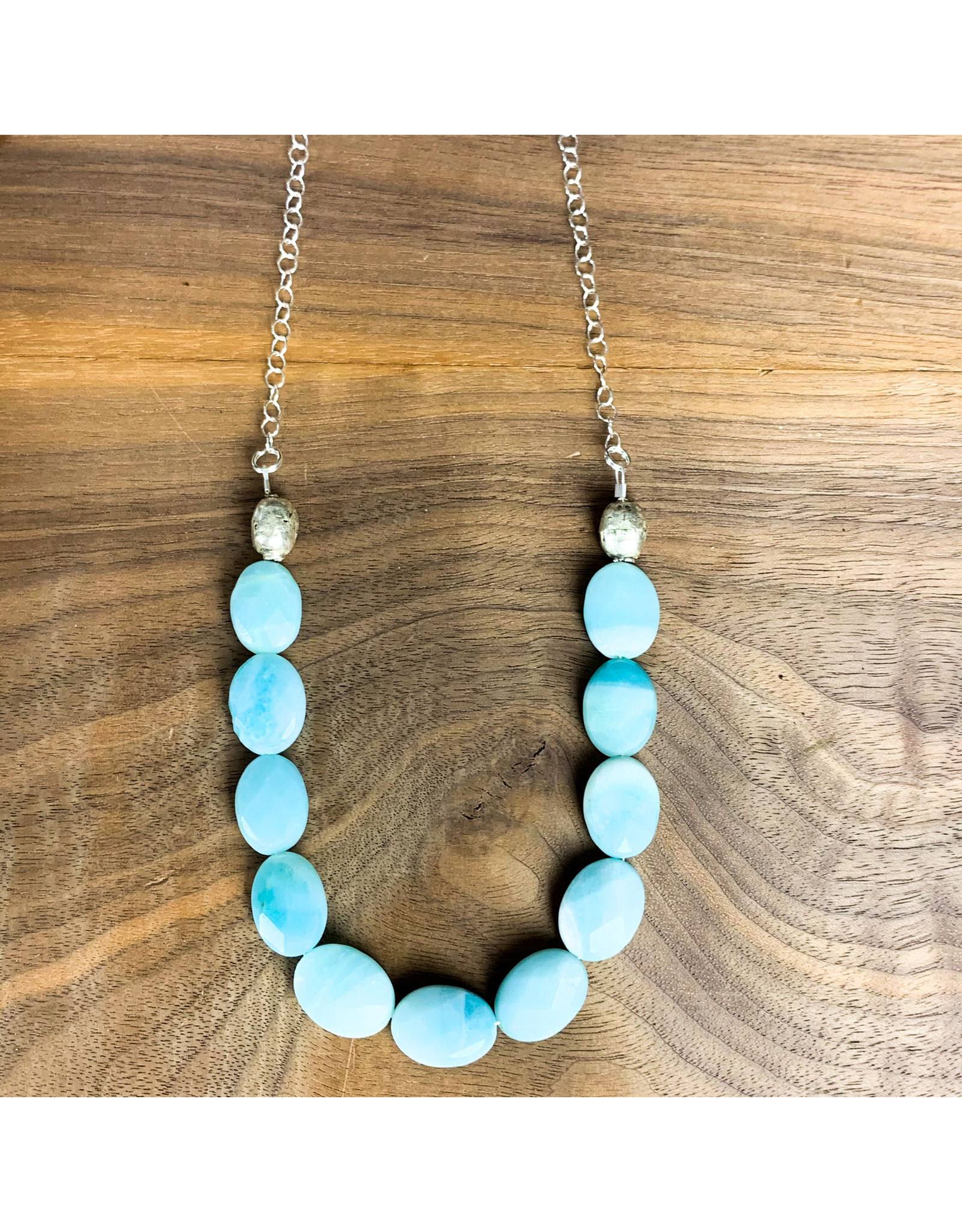 """Amazonite Oval Silver Beads On 18""""Sterling Chain - NC46"""