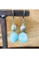 Amazonite Oval Silver Beads Earrings NC45