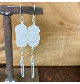 Quartz and Druzy Crystal Earrings