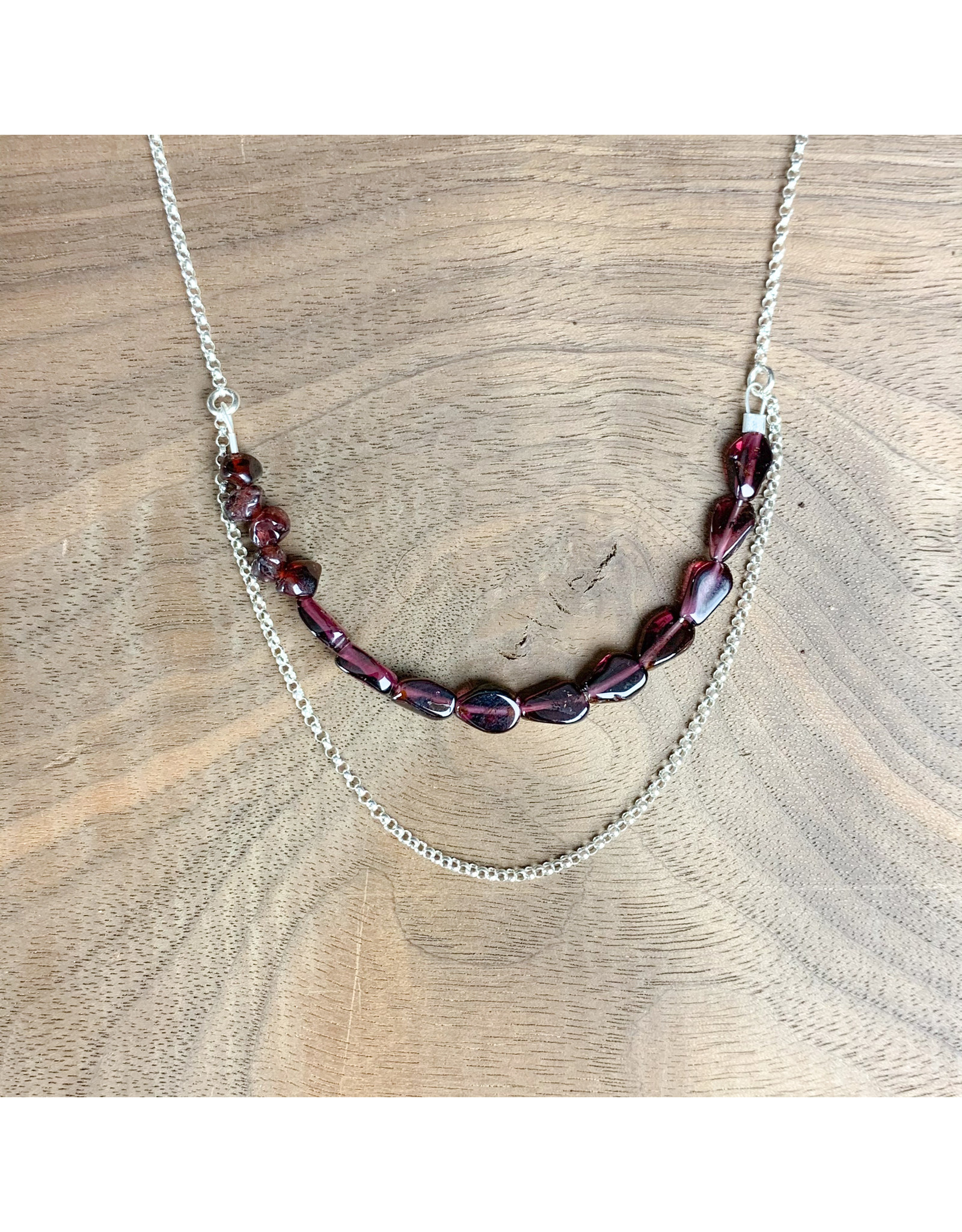"""Garnet and Sterling Chain Necklace 20"""" - NC34"""