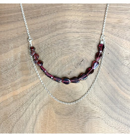 Garnet and Sterling Chain Necklace 20""