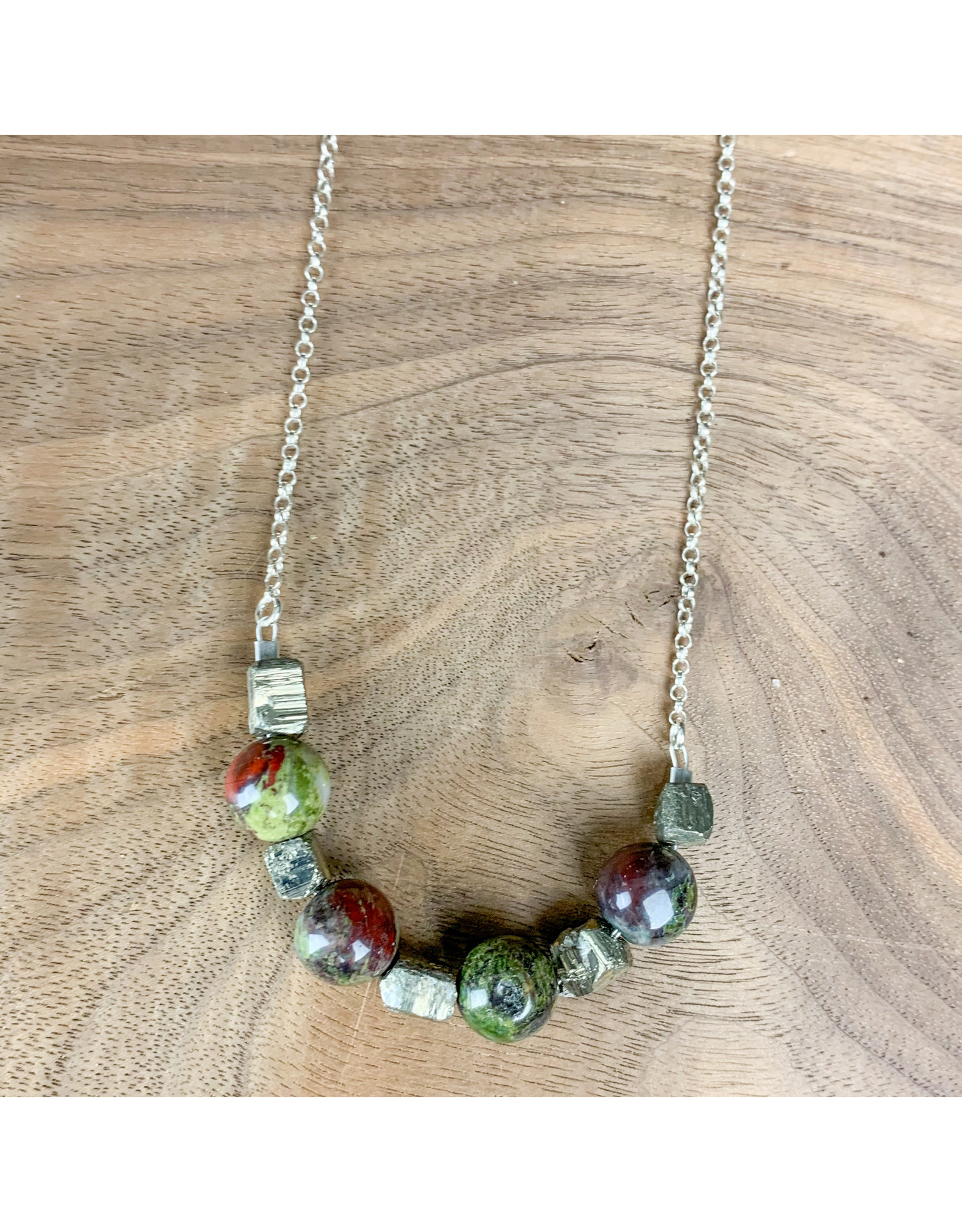 "Jasper and Pyrite on 30"" Sterling Chain - NC27"
