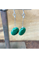 Malachite Circle Earrings Sterling - NC26