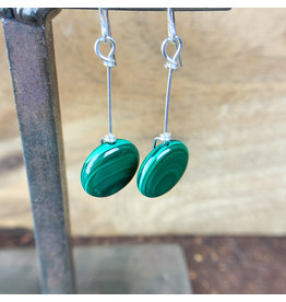 Malachite Circle Earrings Sterling