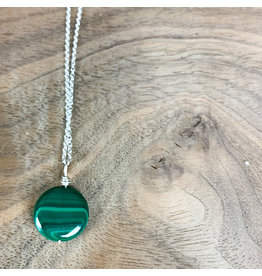 "Malachite Circle on 18"" Sterling Chain"