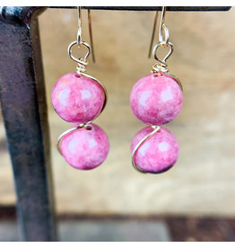 Rhondochrosite 2pc Sphere Earrings Gold