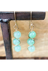 Aventurine 3pc Sphere Earrings Gold - NC22