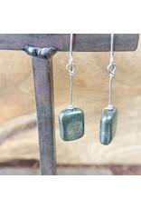 Pyrite Rectangle Earrings - NC21
