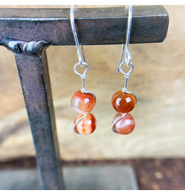Lake Superior Agate Sphere Earrings