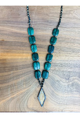 Jasper and Linen Necklace Long - NC2