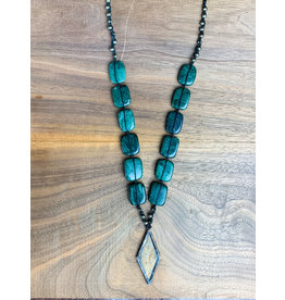 Jasper and Linen Necklace Long