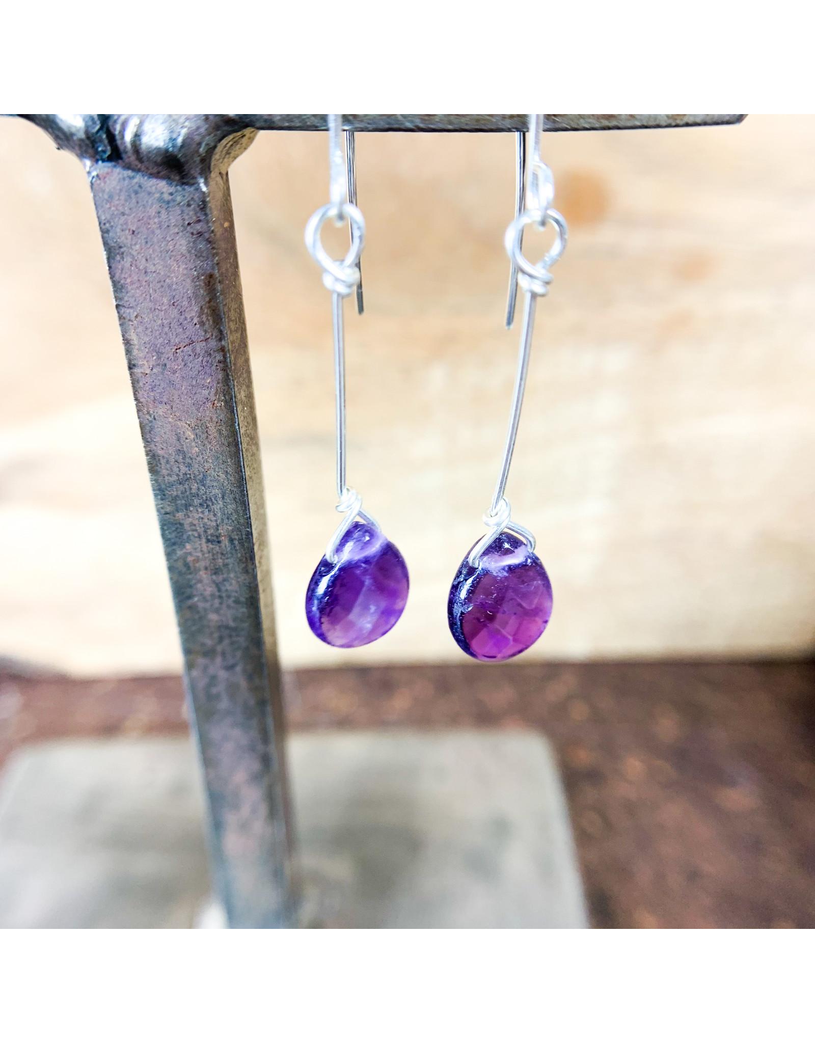 Amethyst Teardrop Earrings Silver - NC61