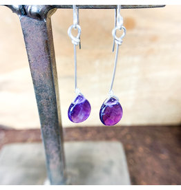 Amethyst Teardrop Earrings Silver