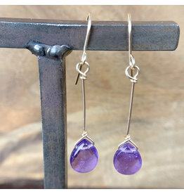 Amethyst Teardrop Earrings Gold