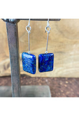 Lapis Lazuli Rectangle Earrings Silver - NC12
