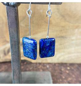 Lapis Lazuli Rectangle Earrings Silver