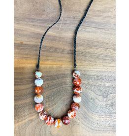 Agate Linen Necklace Long