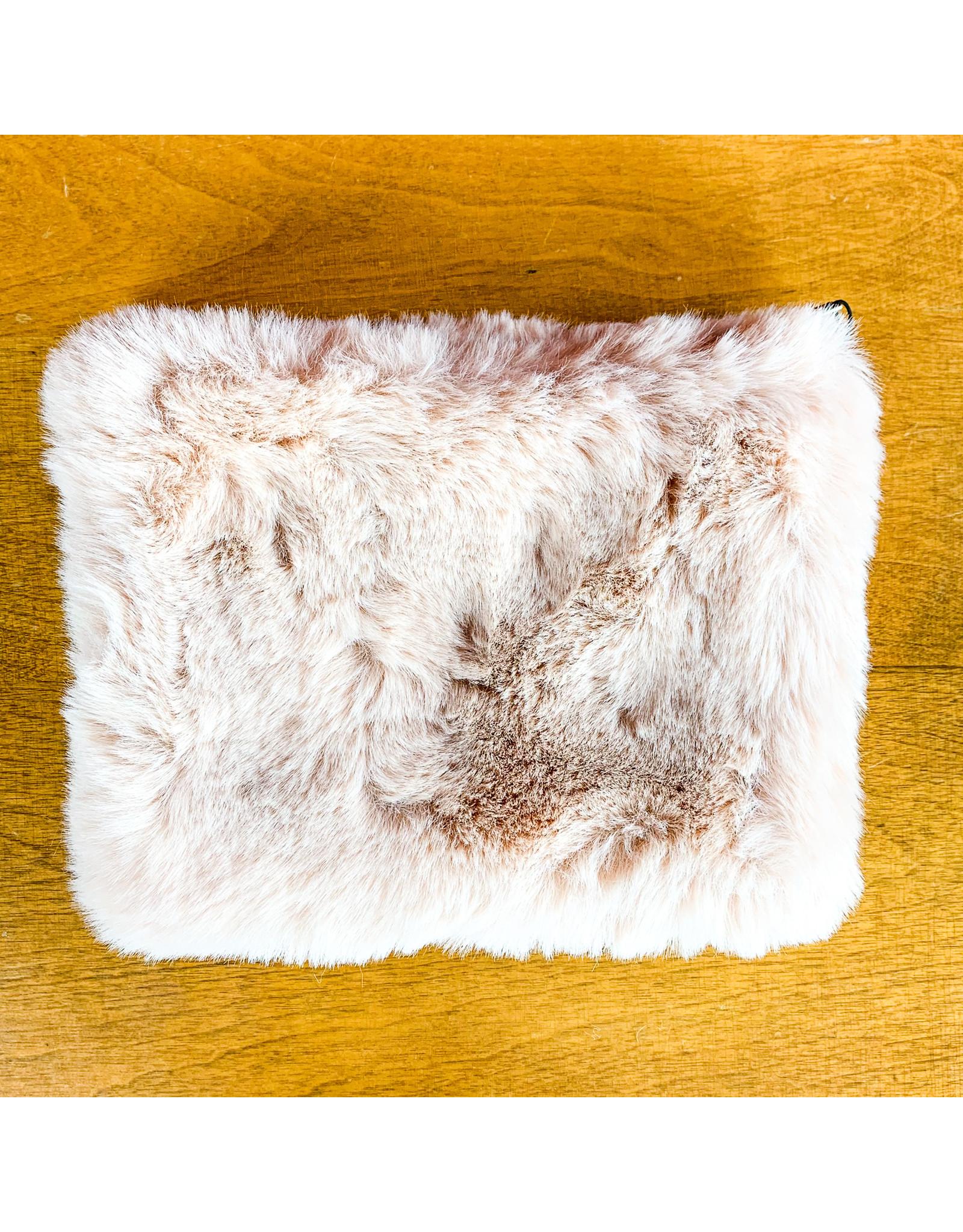 """Creative Co-Op Faux Fur Zip 8""""  Pink"""