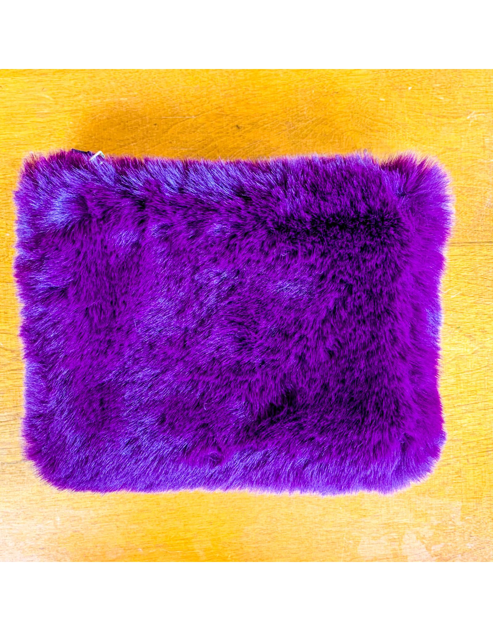 """Creative Co-Op Faux Fur Zip 8"""" Cabernet"""