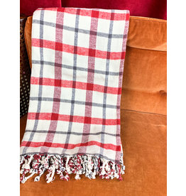 Creative Co-Op Plaid Throw White